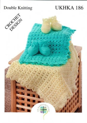 Crochet Pattern for Baby Blanket & Bootees UKHKA 186 DK